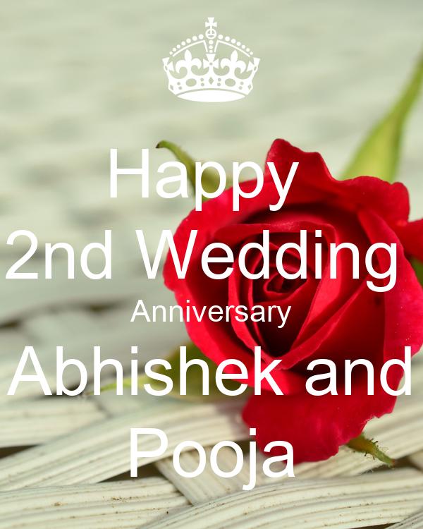 Happy 2nd Wedding Anniversary Abhishek And Pooja Poster