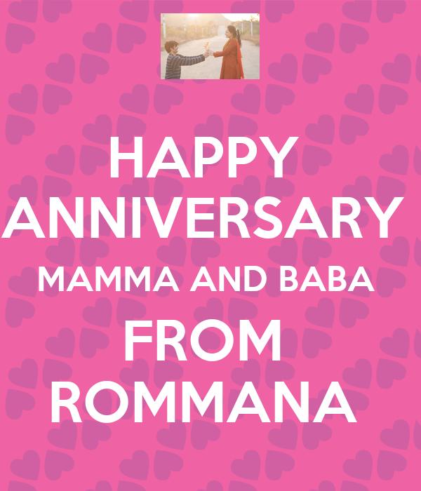 HAPPY  ANNIVERSARY  MAMMA AND BABA  FROM  ROMMANA