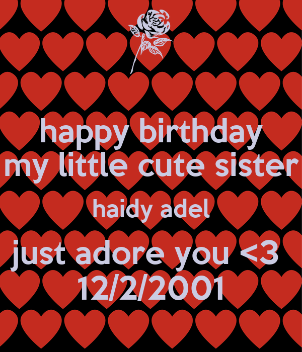 happy birthday my little cute sister haidy adel just adore you <3  12/2/2001