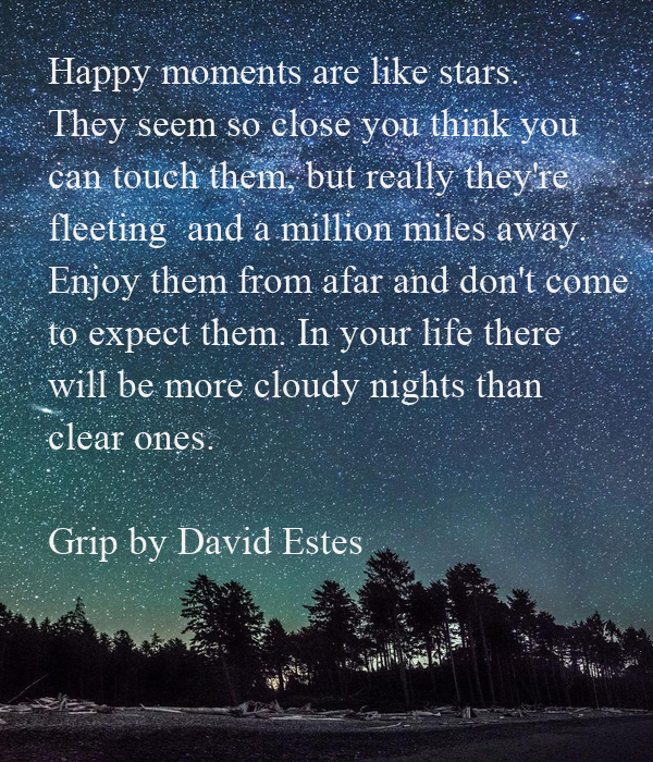Happy moments are like stars. They seem so close you think you can touch them, but really they're  fleeting  and a million miles away.  Enjoy them from afar and don't come