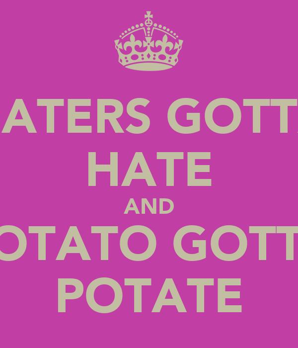 HATERS GOTTA HATE AND POTATO GOTTA POTATE