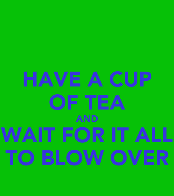 HAVE A CUP OF TEA AND WAIT FOR IT ALL TO BLOW OVER