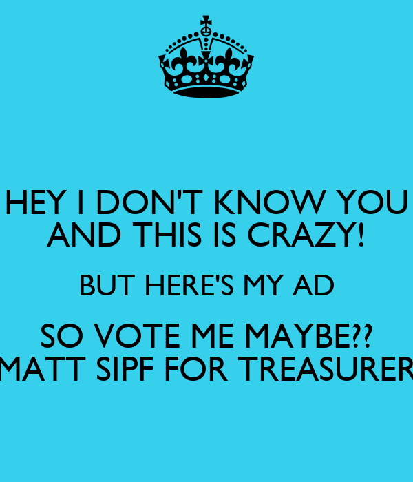 HEY I DON'T KNOW YOU AND THIS IS CRAZY! BUT HERE'S MY AD SO VOTE ME MAYBE?? MATT SIPF FOR TREASURER