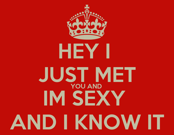 HEY I  JUST MET YOU AND  IM SEXY  AND I KNOW IT