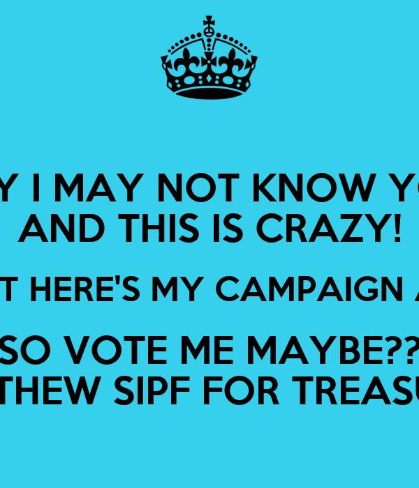 HEY I MAY NOT KNOW YOU AND THIS IS CRAZY! BUT HERE'S MY CAMPAIGN AD SO VOTE ME MAYBE?? MATTHEW SIPF FOR TREASURER
