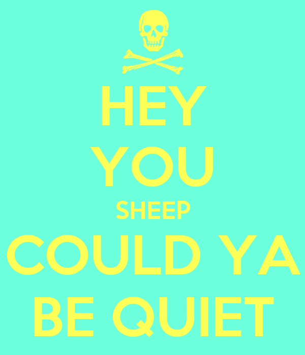 HEY YOU SHEEP COULD YA BE QUIET