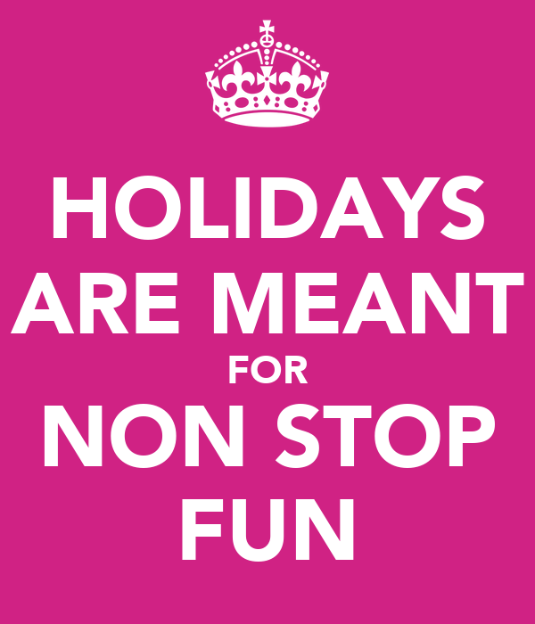 HOLIDAYS ARE MEANT FOR NON STOP FUN