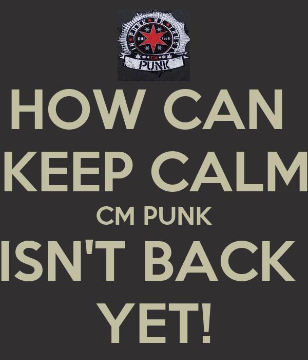 HOW CAN  I KEEP CALM? CM PUNK ISN'T BACK  YET!