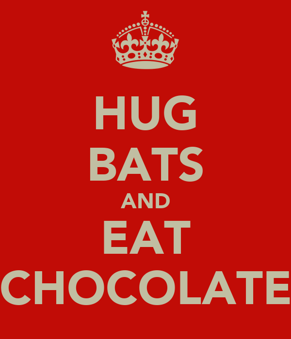 HUG BATS AND EAT CHOCOLATE