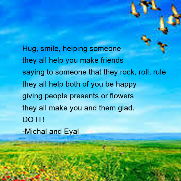 Hug, smile, helping someone