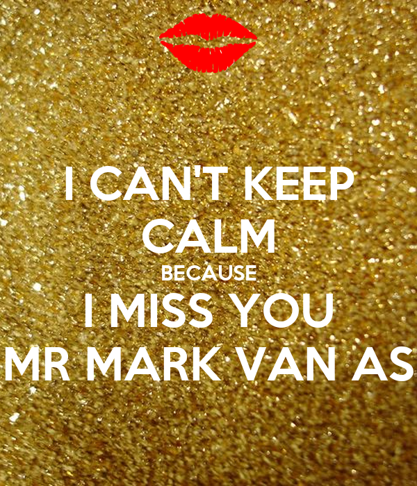 I CAN'T KEEP CALM BECAUSE I MISS YOU MR MARK VAN AS