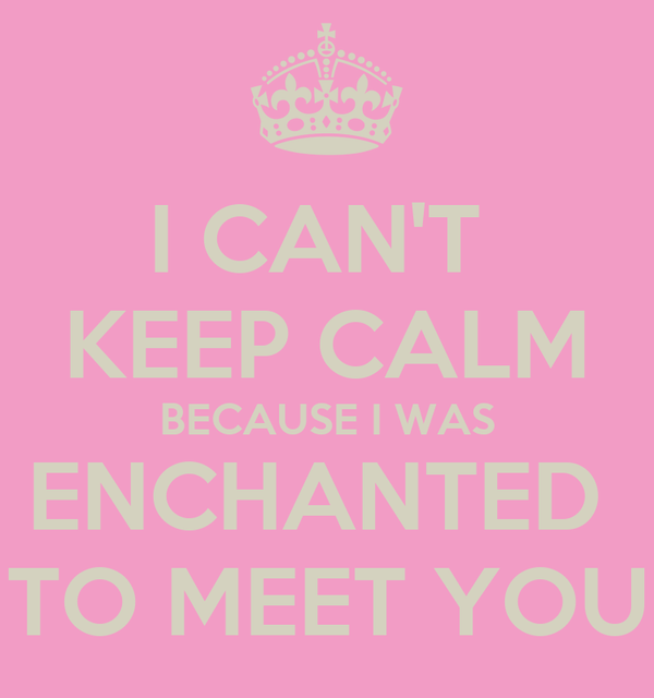 I CAN'T  KEEP CALM BECAUSE I WAS ENCHANTED  TO MEET YOU