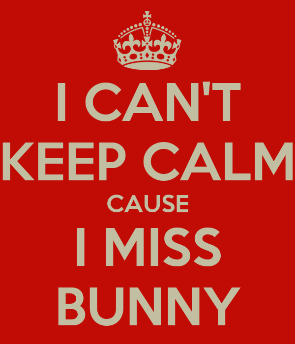 I CAN'T KEEP CALM CAUSE I MISS BUNNY