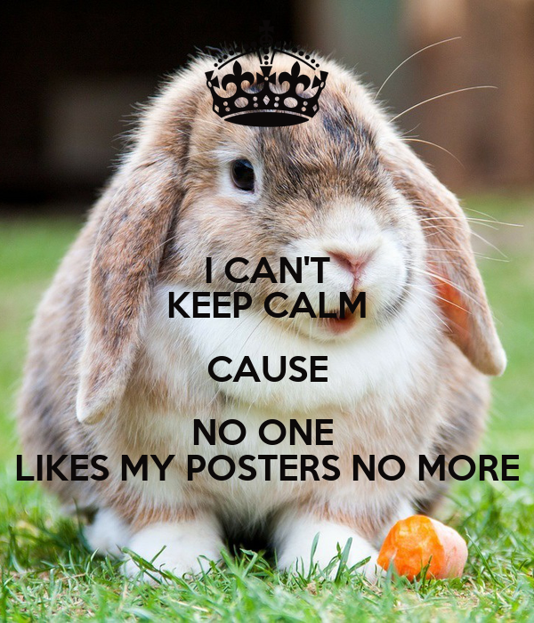 I CAN'T KEEP CALM CAUSE NO ONE  LIKES MY POSTERS NO MORE