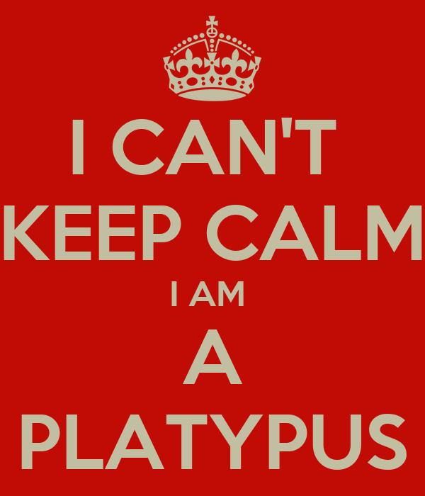 I CAN'T  KEEP CALM I AM  A PLATYPUS