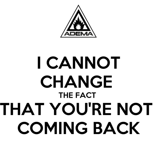 I CANNOT CHANGE  THE FACT  THAT YOU'RE NOT  COMING BACK