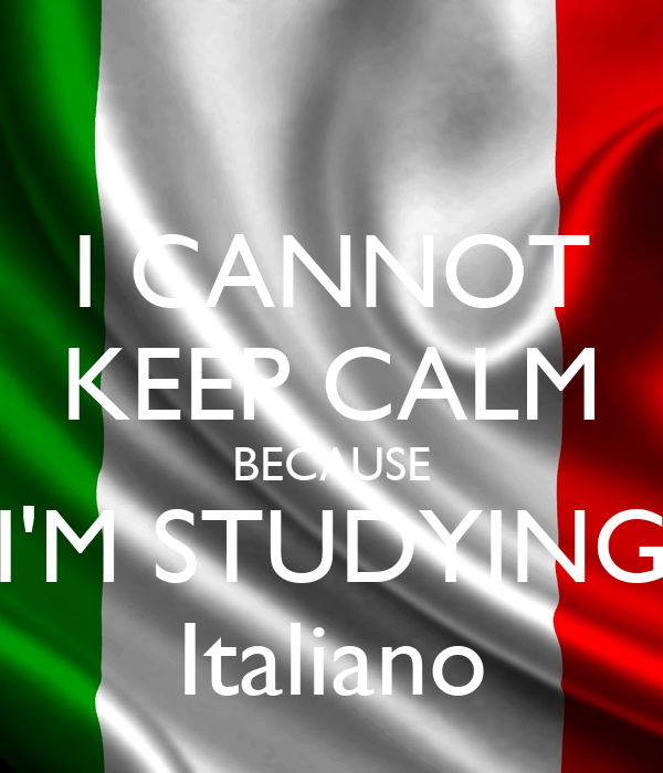 I CANNOT KEEP CALM BECAUSE I'M STUDYING Italiano