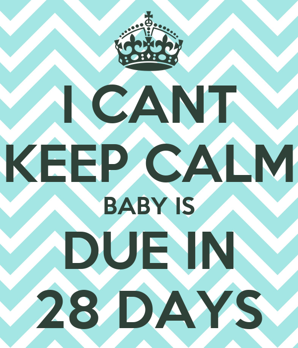 I CANT KEEP CALM BABY IS DUE IN 28 DAYS