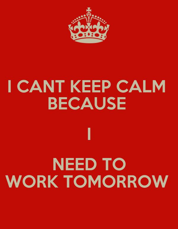 I CANT KEEP CALM  BECAUSE  I NEED TO WORK TOMORROW