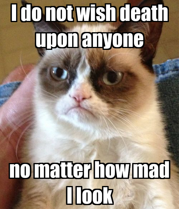 I do not wish death upon anyone no matter how mad I look