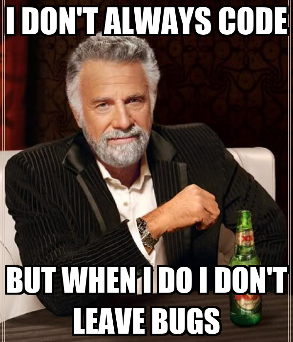 I DON'T ALWAYS CODE BUT WHEN I DO I DON'T LEAVE BUGS