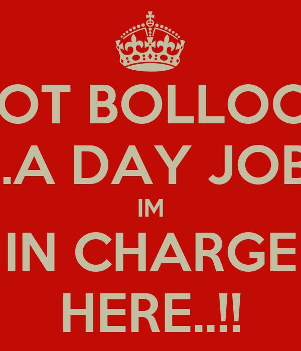 I GOT BOLLOCKS ..A DAY JOB IM IN CHARGE HERE..!!