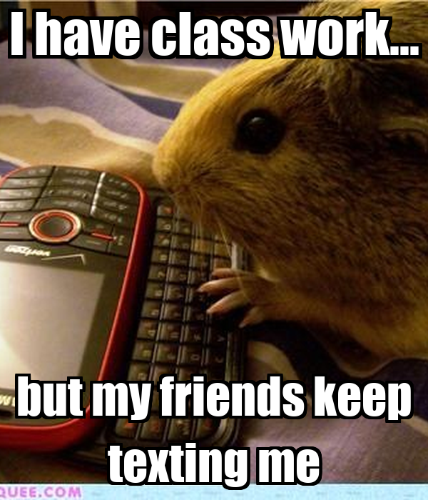 I have class work... but my friends keep texting me
