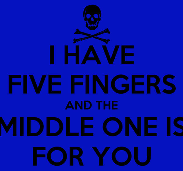 I HAVE FIVE FINGERS AND THE MIDDLE ONE IS FOR YOU