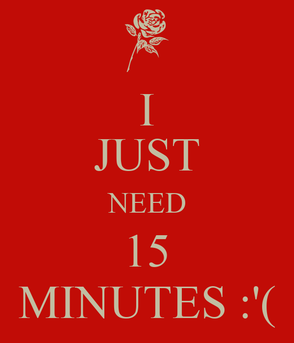 I JUST NEED 15 MINUTES :'(