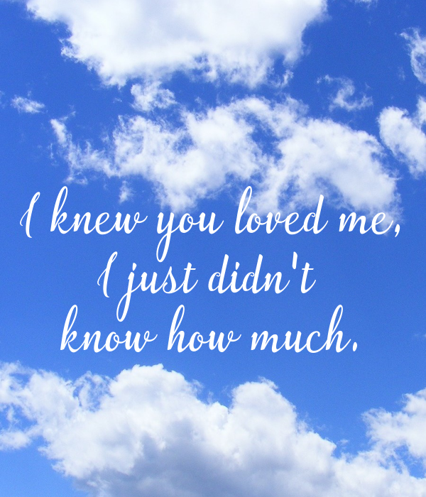 I knew you loved me, I just didn't  know how much.