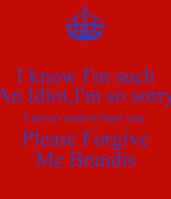I Know Im Such An Idiotim So Sorry I Never Want To Hurt You