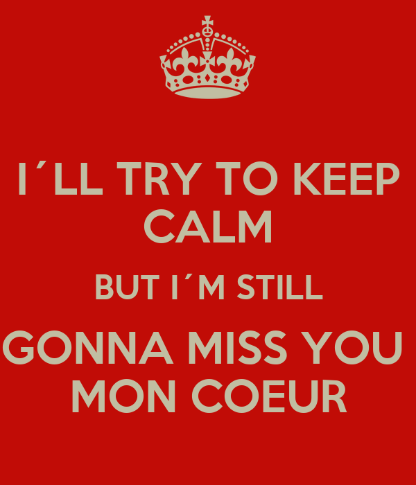 I´LL TRY TO KEEP CALM BUT I´M STILL GONNA MISS YOU  MON COEUR