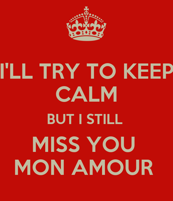 I'LL TRY TO KEEP CALM BUT I STILL  MISS YOU  MON AMOUR