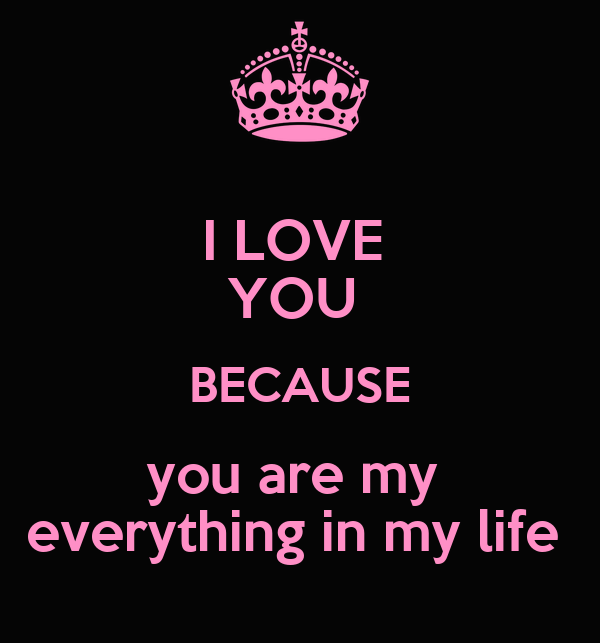 I LOVE  YOU  BECAUSE you are my  everything in my life