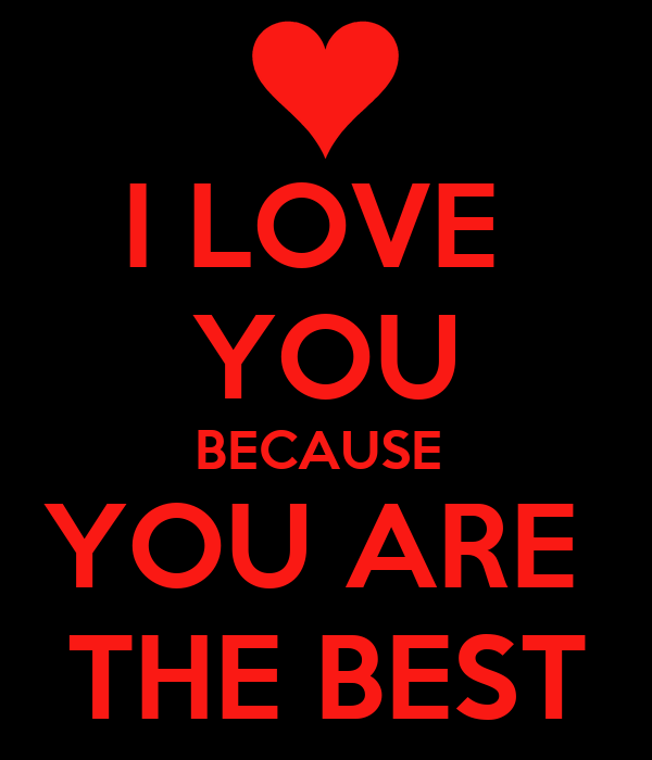 I LOVE  YOU BECAUSE  YOU ARE  THE BEST