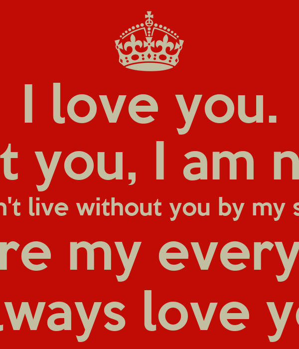I love you. without you, I am nothing. I can't live ...
