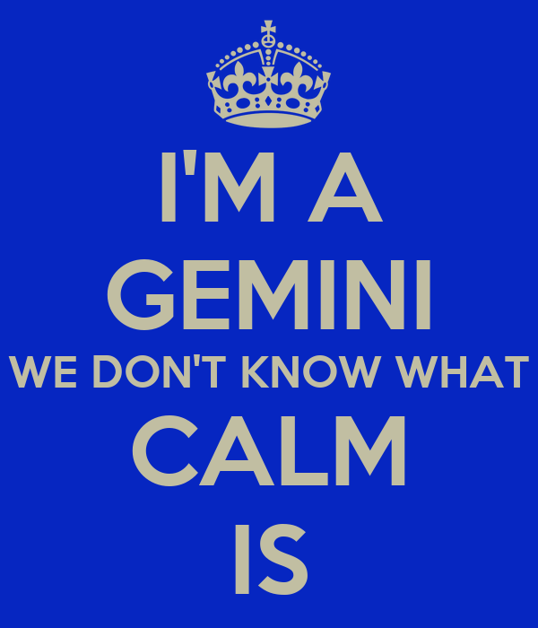 I'M A GEMINI WE DON'T KNOW WHAT CALM IS