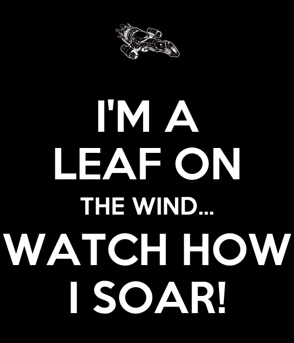 I'M A LEAF ON THE WIND... WATCH HOW I SOAR!
