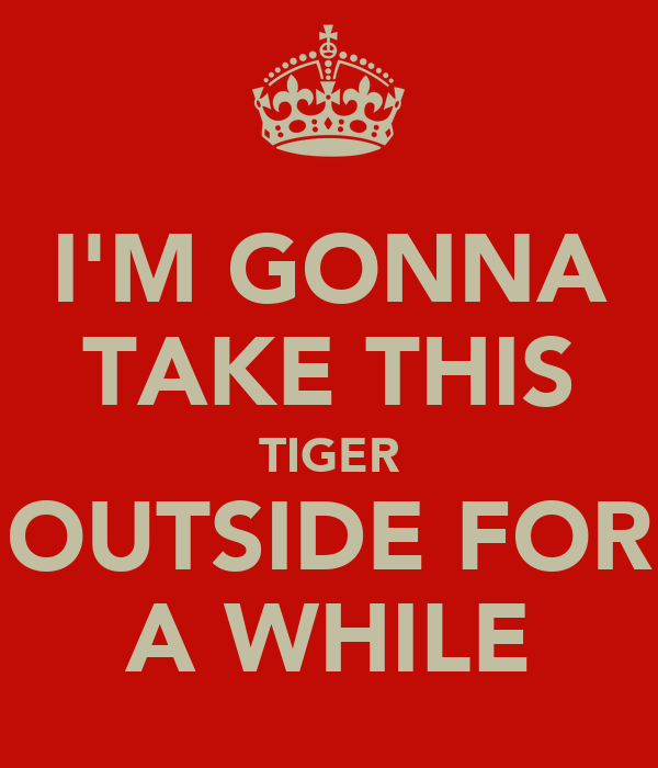 I'M GONNA TAKE THIS TIGER OUTSIDE FOR A WHILE