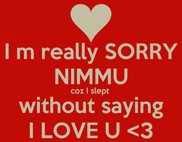 I m really SORRY NIMMU coz I slept  without saying I LOVE U <3