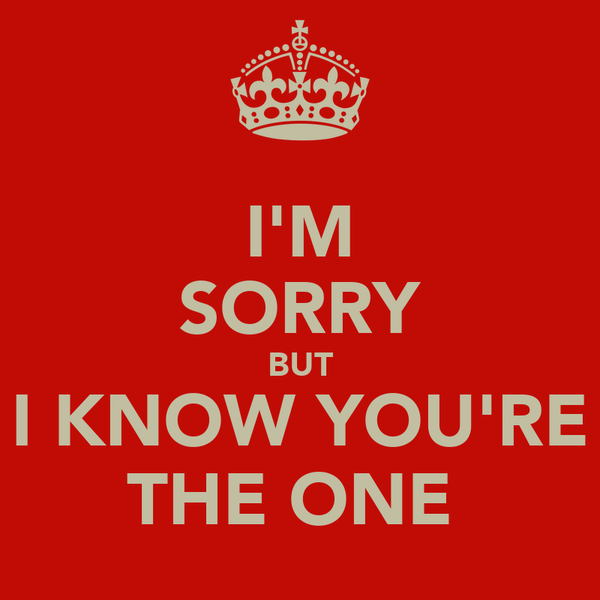 I'M SORRY BUT I KNOW YOU'RE THE ONE♡