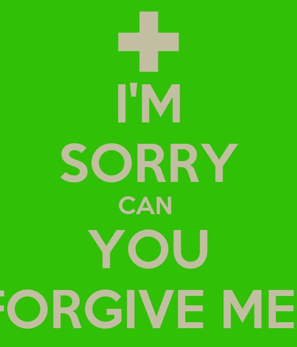 I'M SORRY CAN  YOU FORGIVE ME?