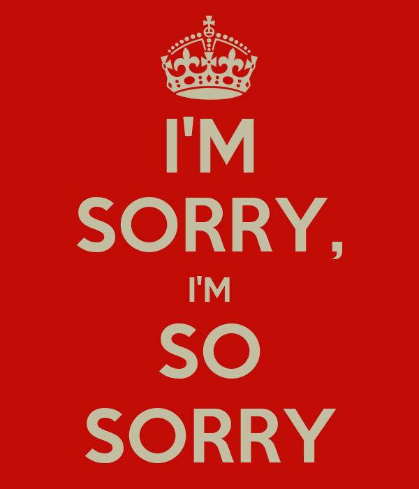I'M SORRY, I'M SO SORRY