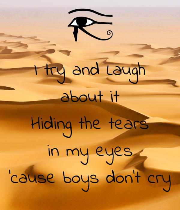 I try and Laugh about it Hiding the tears in my eyes 'cause boys don't cry