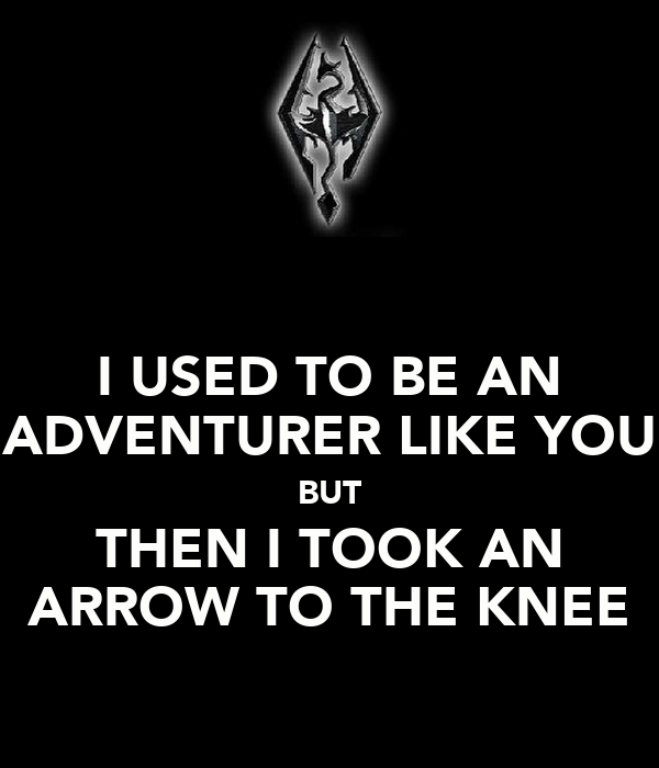 I USED TO BE AN ADVENTURER LIKE YOU BUT THEN I TOOK AN ARROW TO THE KNEE