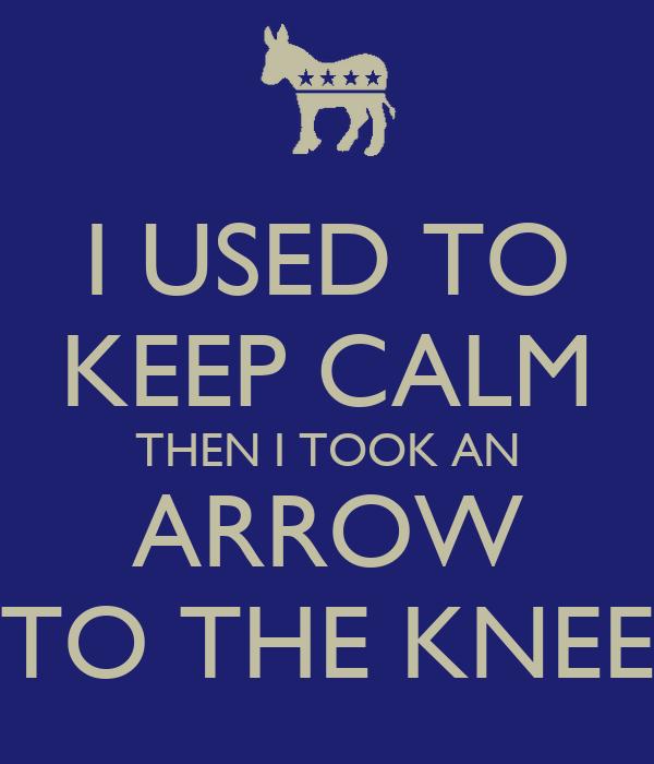 I USED TO KEEP CALM THEN I TOOK AN ARROW TO THE KNEE