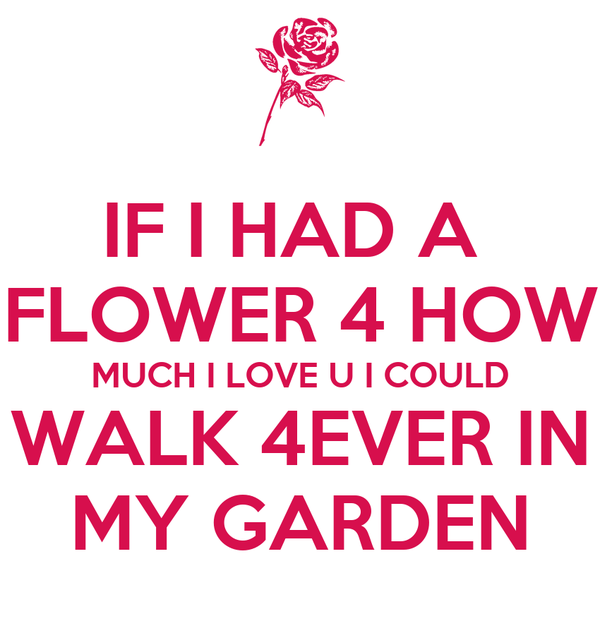 IF I HAD A  FLOWER 4 HOW MUCH I LOVE U I COULD WALK 4EVER IN MY GARDEN