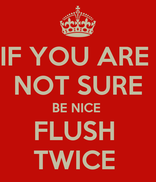 IF YOU ARE  NOT SURE BE NICE  FLUSH  TWICE