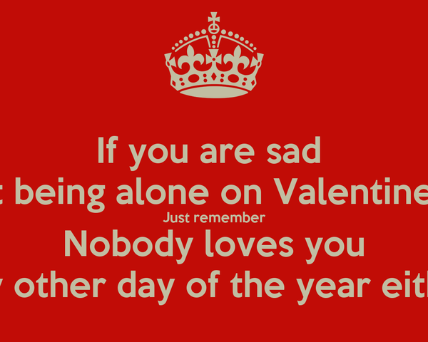If You Are Sad About Being Alone On Valentines Day Just Remember Nobody  Loves You Any