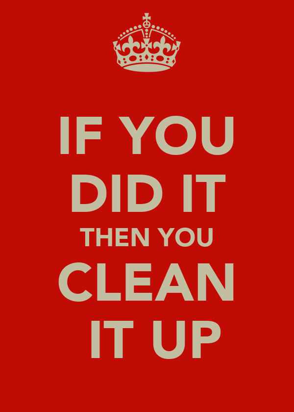 IF YOU DID IT THEN YOU CLEAN  IT UP